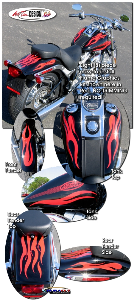 Flame Graphics Kit 1 For Harley Davidson Softail Dyna