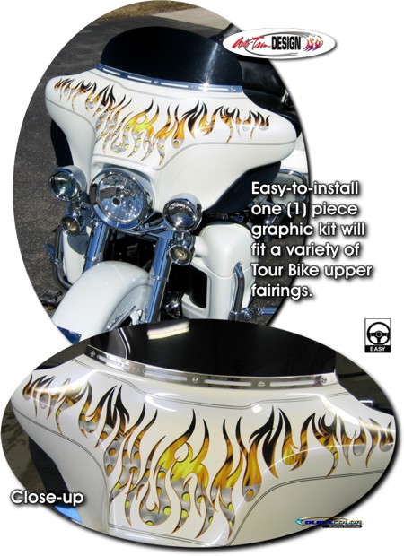 Flame Graphics Kit 1 For Harley Davidson Touring Bike Fairing