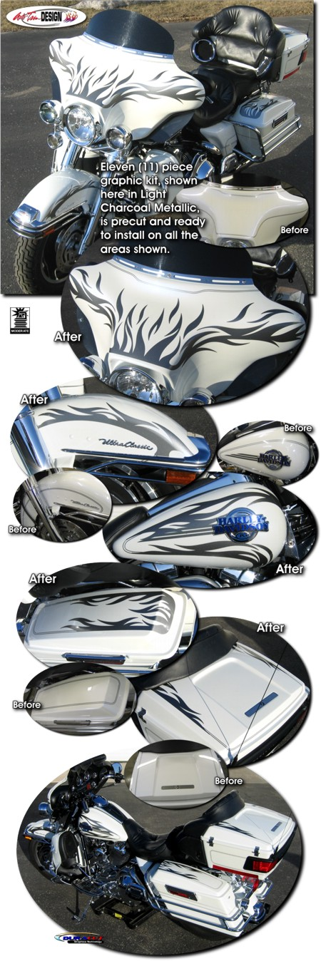 Tribal Motorcycle Graphics : Tribal Flame Graphics Kit 2 for Harley-Davidson Ultra Classic Electra ...