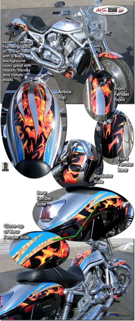 Flames Graphic Kit 2 For Harley Davidson Vrsc