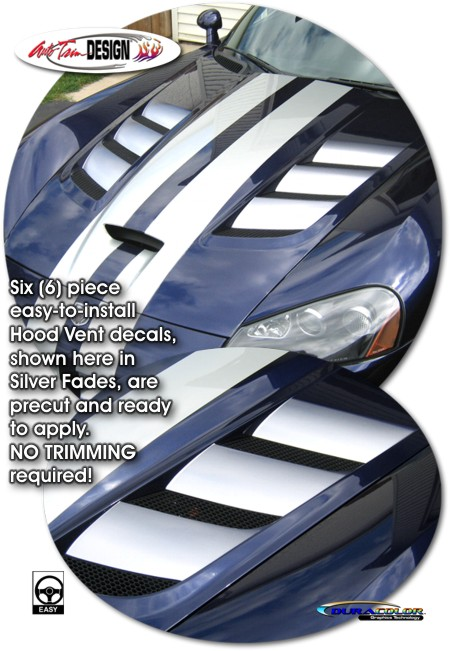 Exhaust Hood Graphics ~ Dodge viper hood vent enhancement decal kit