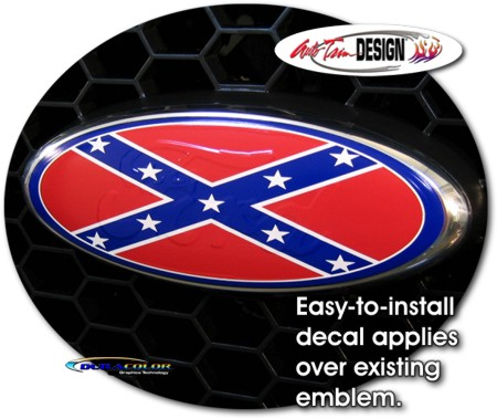 Ford Rebel Flag http://www.autotrimdesign.net/Confederate_Flag-Rebel_Oval_Decal_1_for_Ford.asp