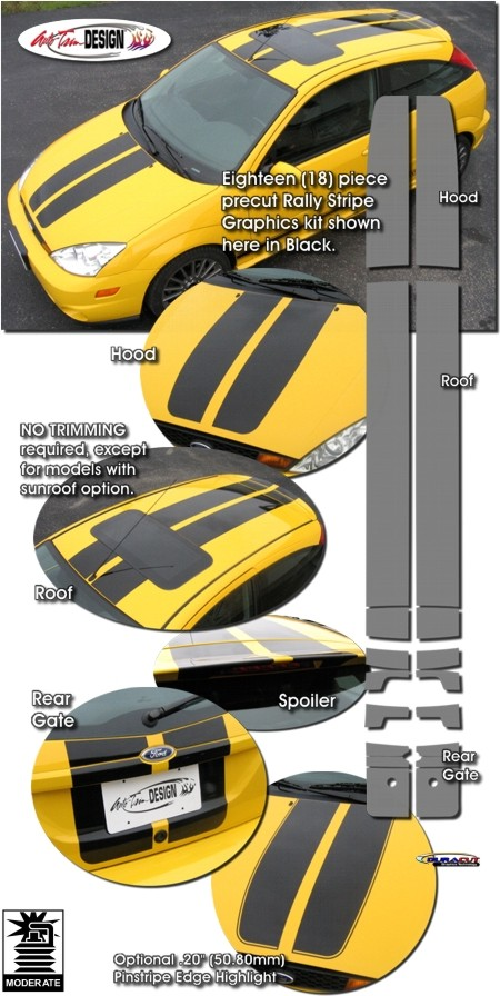 Rally Stripe Graphic Kit 1 for Ford Focus ZX3