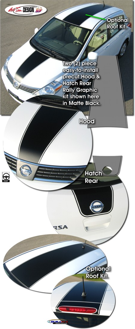 Rally Stripe Graphic Kit 1 For Nissan Versa Tiida