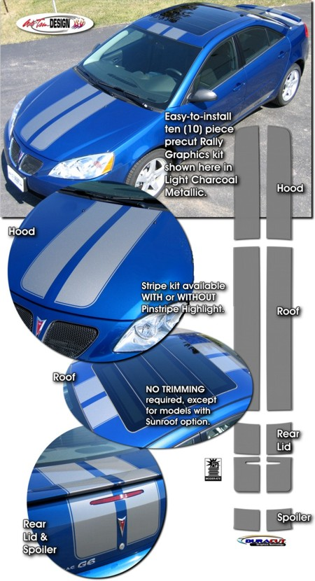 Rally Stripe Graphic Kit 1 For Pontiac G6 Sedan