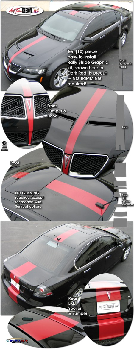 Center Stripe Rally Graphic Kit 1 For Pontiac G8