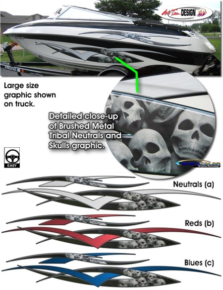 Brushed Metal Tribal And Skulls Boat Graphic Kit