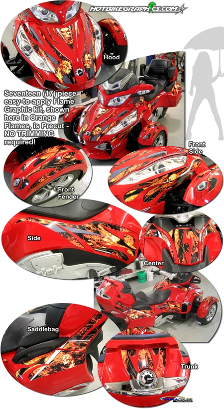 Bombardier Can Am Spyder Rt Flame Graphic Kit 3