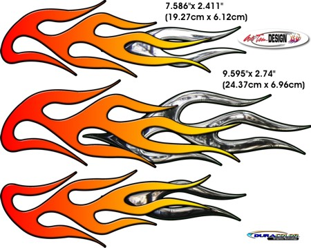 Motorcycle Flame Decal Kit 1