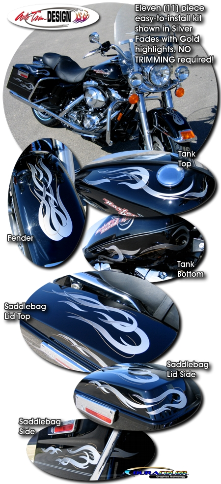 Flames Amp Pins Graphic Kit 1 For Harley Davidson Road King