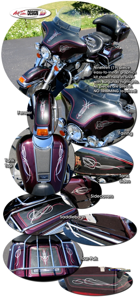 Two Color Pinstripe Graphics Kit 1 For Harley Davidson