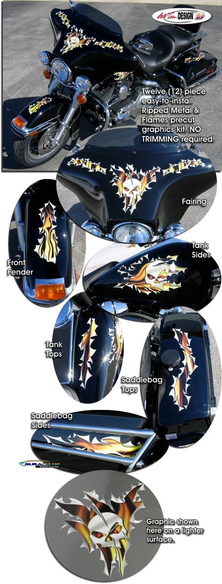 Ripped Metal Amp Flames Graphics Kit 1 For Harley Davidson