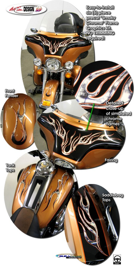 Smoky Chrome Flame Graphics Kit 1 For Harley Davidson