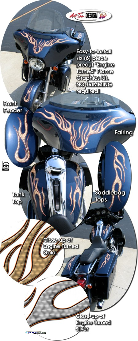 Harley Davidson Touring Bikes Engine Turned Flame Graphics