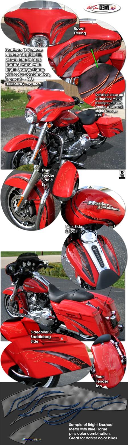 Harley Davidson Touring Bikes Flame Graphics Kit 3