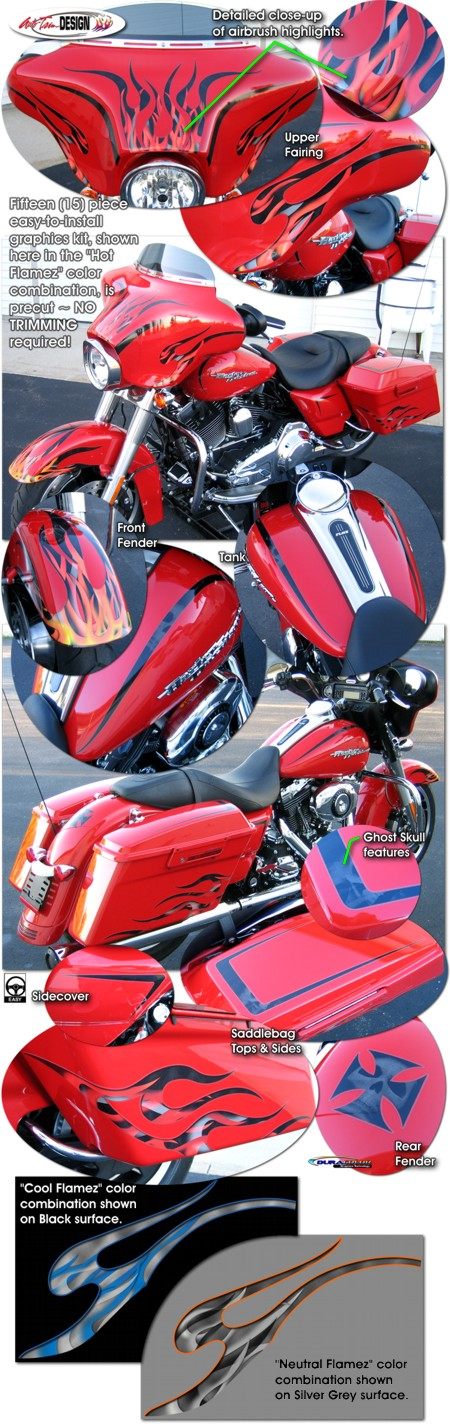 Harley Davidson Touring Bikes Flame Graphics Kit 4