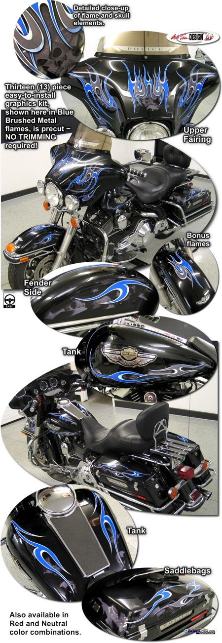 Flame Graphics Kit 5 For Harley Davidson Touring Bikes
