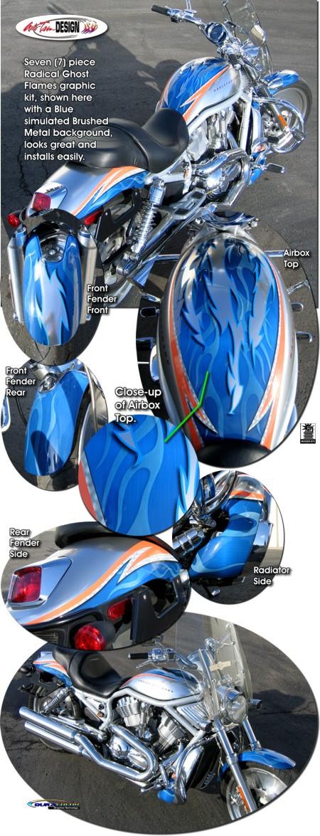 Radical Ghost Flames Graphic Kit 2 For Harley Davidson Vrsc