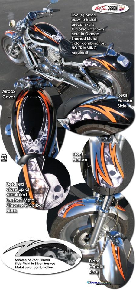 Skulls Graphic Kit 1 For Harley Davidson Vrsc V Rod