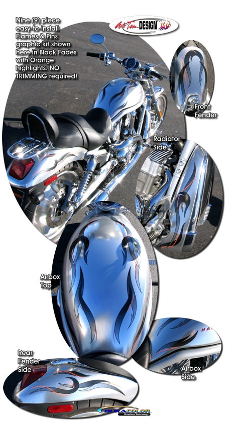 Flames Amp Pins Graphic Kit 1 For Harley Davidson V Rod