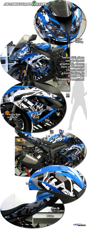 Oil Graphic Kit 1 For Kawasaki Ninja Zx 6r Scorpion Exo