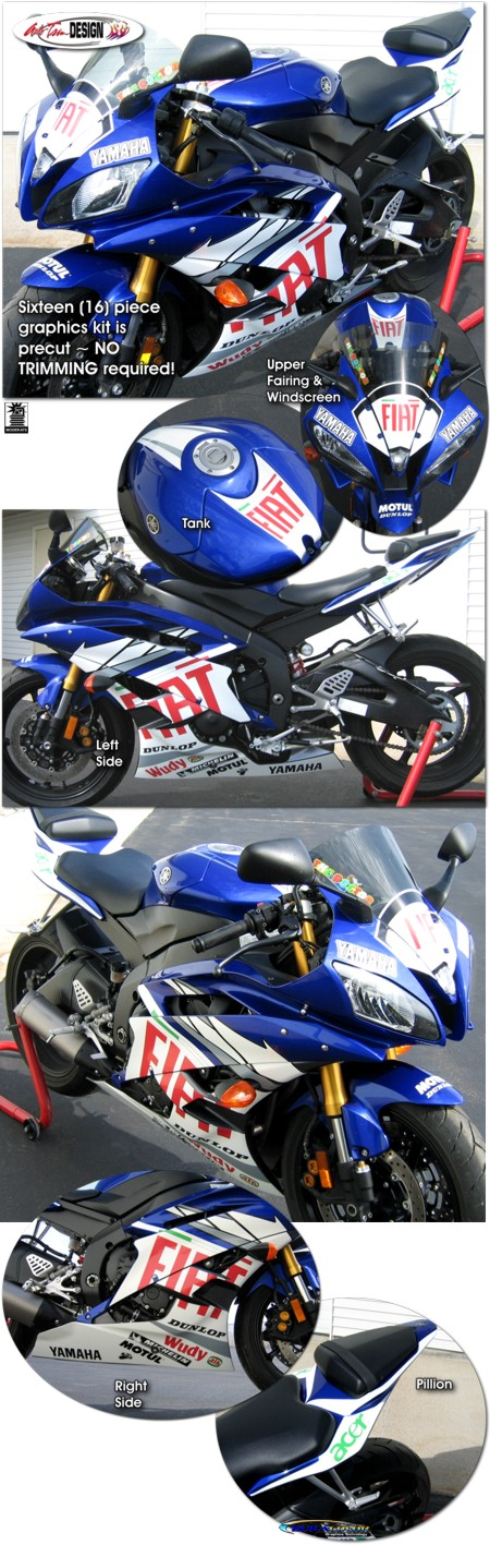 Fiat Racing Graphic Kit 1 For Yamaha Yzf R6 Yzf R6s