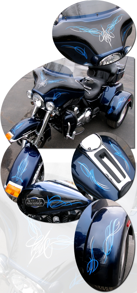 Harley Davidson Touring Bikes Two Color Pinstripe Graphics