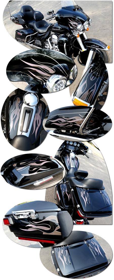 Harley Davidson Touring Bikes Flame Graphics Kit 7 Ultra