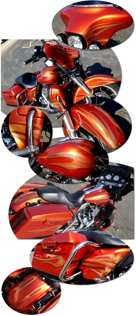 Harley Davidson Touring Bike Flame Graphics Kit 8 15