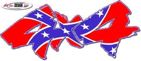 Confederate Flag 4x4 Decal 1 Rebel