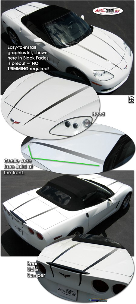 Hood And Rear Lid Highlight Graphic Kit 1 For Chevrolet C6