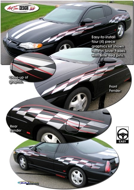 Red Window Tint >> Checker Flag Body Side Graphics w/ Pins Kit 1 for Chevrolet Monte Carlo