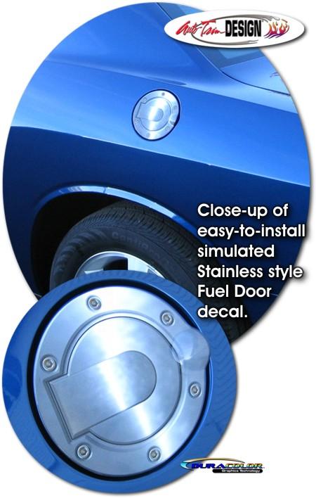 Simulated Billet Style Fuel Door Decal 1 For Dodge Challenger