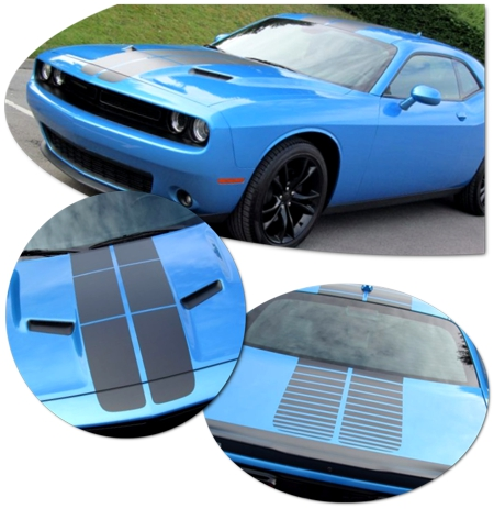 Dodge Challenger Blacktop Style Rally Stripe Graphic Kit 1
