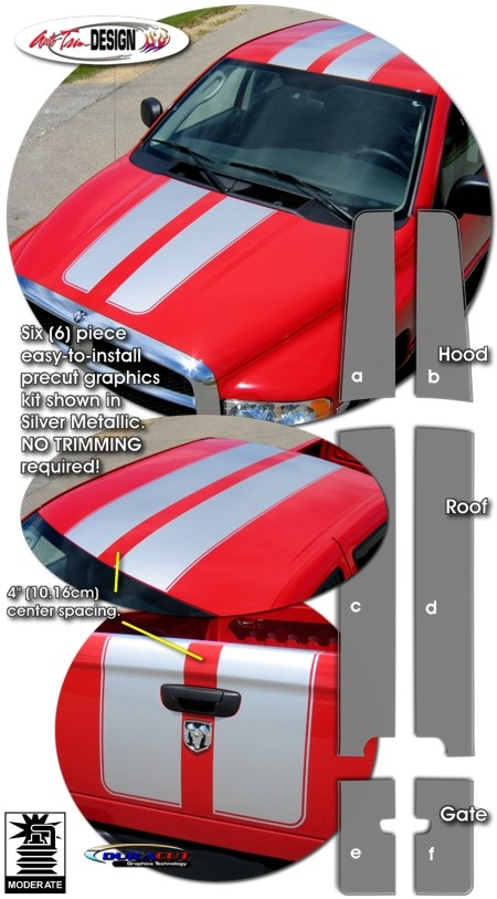 Dodge Ram Quad Cab >> Rally Stripe Graphic Kit 1 for Dodge Ram Truck