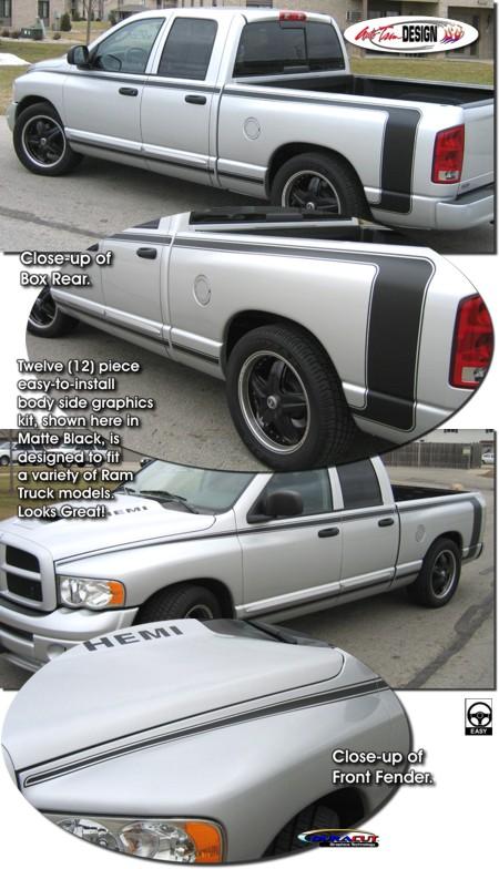 Body Side Strobe Graphic Kit 2 For Dodge Ram Truck