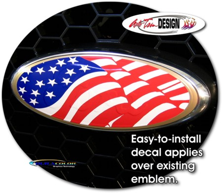 Patriotic Us Flag Oval Decal 1 For Ford