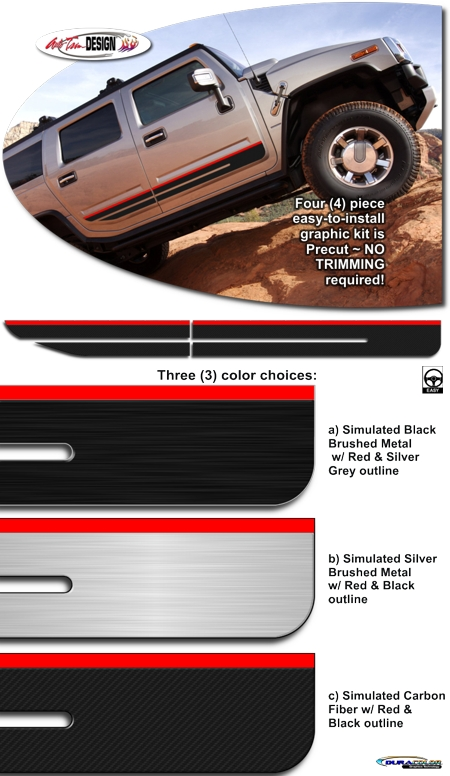 Body Side Graphic Kit 3 For Hummer H2 And H2 Sut