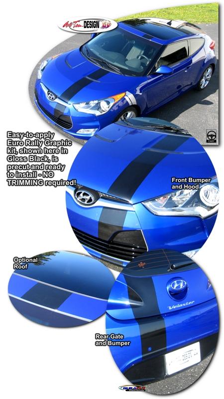Hyundai Veloster Euro Rally Stripe Graphic Kit 1