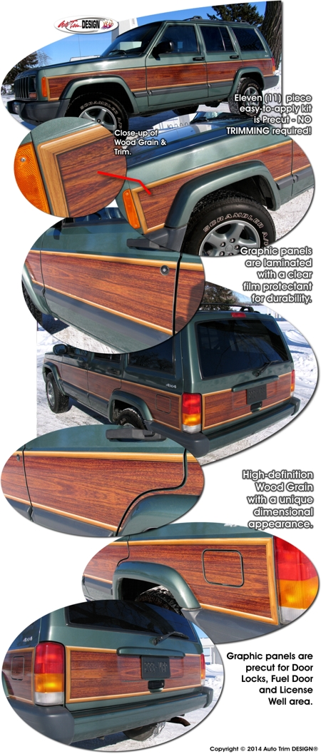 Jeep Cherokee Wood Panel Graphics Kit 1
