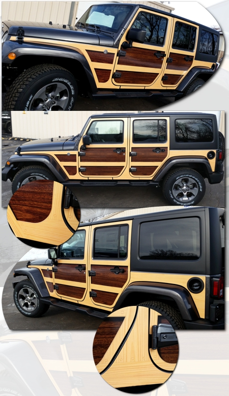 Jeep Wrangler Unlimited Wood Panel Graphics Kit 1 Woody