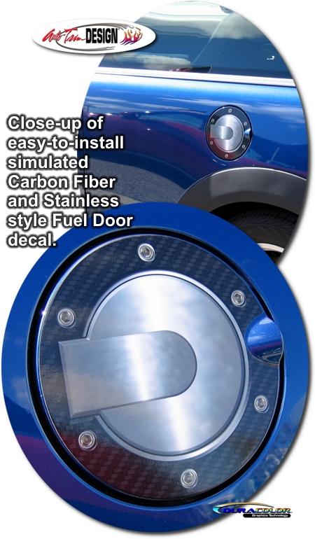 Simulated Carbon Fiber Fuel Door Decal 3 For Mini Cooper