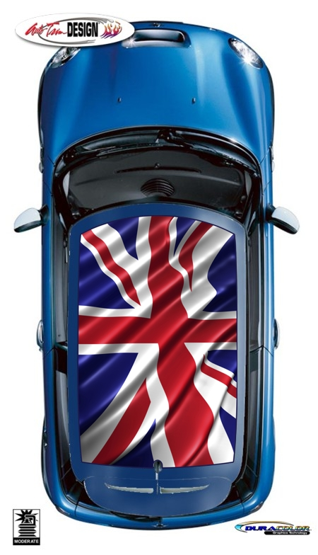 Mini Union Jack British Flag Roof Graphic Kit 3 Cooper