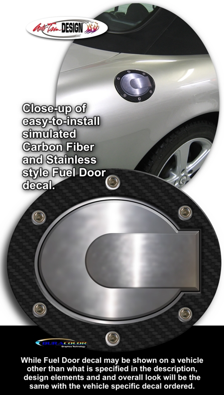 Simulated Carbon Fiber Fuel Door Decal 1 For Mazda3