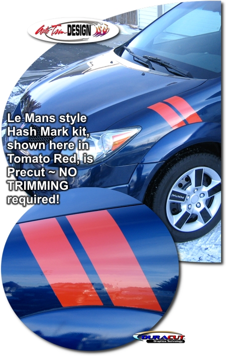 Red Window Tint >> Precut Le Mans Style Hash Mark Kit for Pontiac Vibe