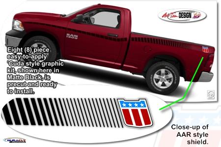 Ram Truck Aar Cuda Style Body Side Strobe Graphic Kit 2